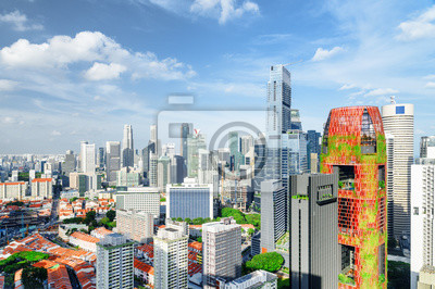 Beautiful view of skyscrapers in downtown, Singapore