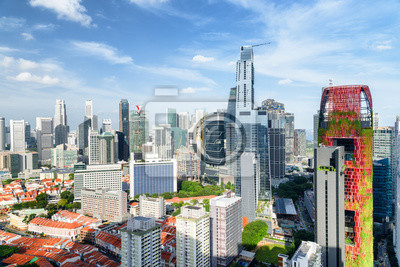 Beautiful view of skyscrapers in Singapore. Amazing cityscape