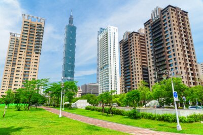 Obraz Beautiful view of Taipei 101 and residential buildings, Taiwan