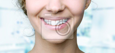 Obraz Beautiful wide smile of young fresh woman with great healthy white teeth. Isolated over background