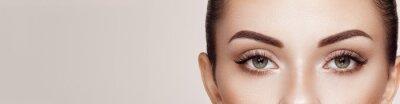 Obraz Beautiful Woman with Extreme Long False Eyelashes. Eyelash Extensions. Makeup, Cosmetics. Beauty, Skincare