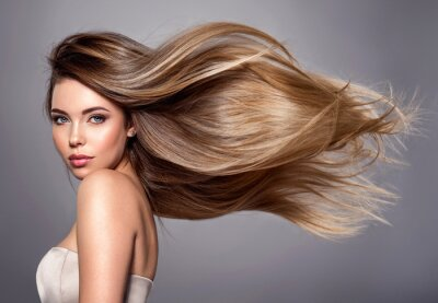 Obraz Beautiful woman with long straight hair. Blond girl.