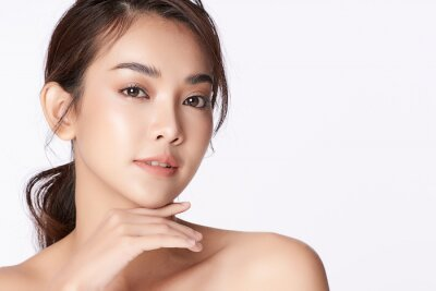 Obraz Beautiful young asian woman with clean fresh skin on white background, Face care, Facial treatment, Cosmetology, beauty and spa, Asian women portrait