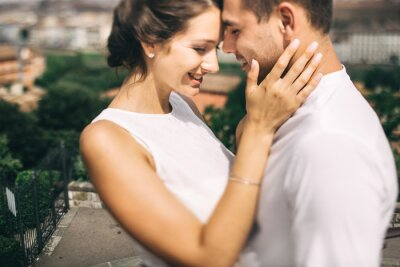 Obraz Beautiful young wedding couple in Italy