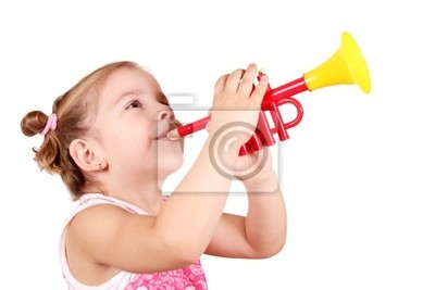 beauty little girl play trumpet