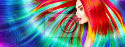 Obraz Beauty modelka Dziewczyna z kolorowych włosów farbowanych