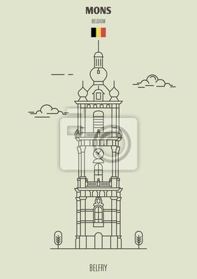 Belfort Tower w Mons, Belgia. Ikona punktu orientacyjnego