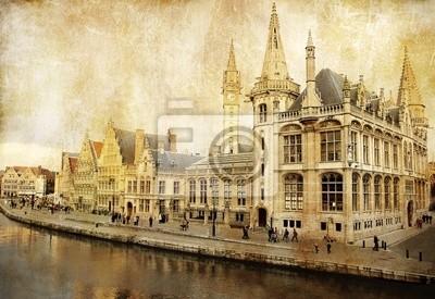 Belgia - Gent - obraz w stylu retro
