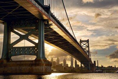 Obraz Ben Franklin Bridge above Philadelphia skyline at sunset, US