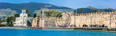 Best destination of Greece - Kos island, view of old fortress and municipal building in harbor