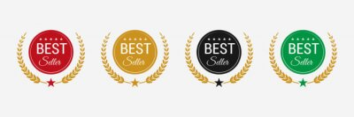 Obraz Best seller badge logo design. Best seller vector isolated.