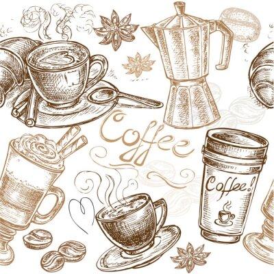 Obraz bez szwu deseń kawy