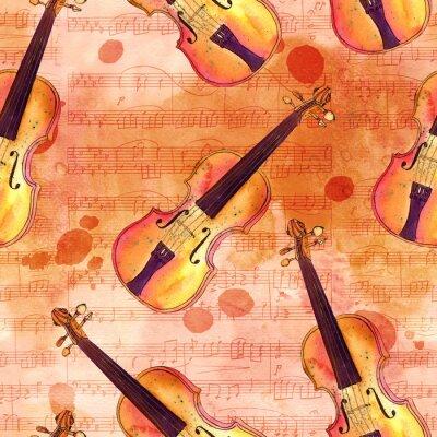 Obraz Bez szwu deseń z Akwarele skrzypce na starych arkuszy muzyki