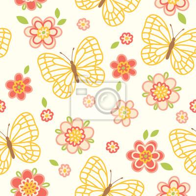Bez szwu deseń z kwiatów i motyli