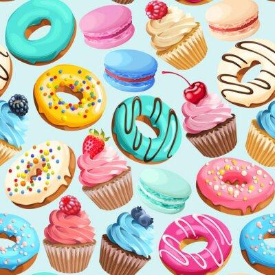 Obraz Bez szwu deseń z słodyczy
