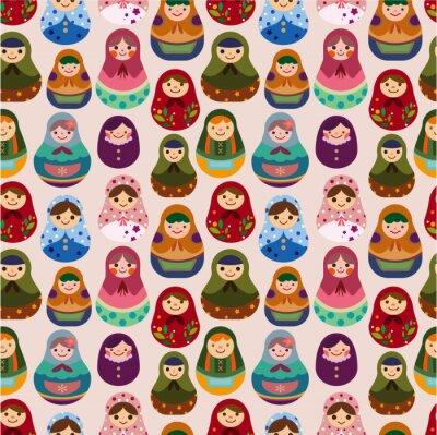 Obraz bez szwu lalka rosyjski wzór