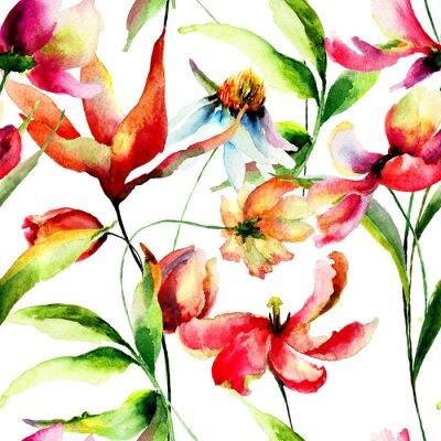 Obraz Bez szwu tapety z polnymi kwiatami