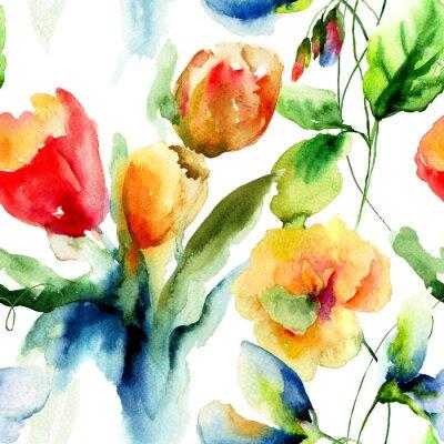 Obraz Bez szwu tapety z stylizowane kwiaty