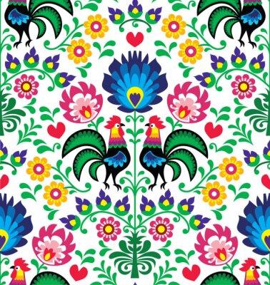 Obraz Bez szwu wzór tradycyjnych kwiatów Polska - Wzory łowickie