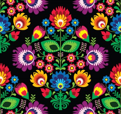 Obraz Bez szwu wzór tradycyjnych kwiatów Polski na czarno