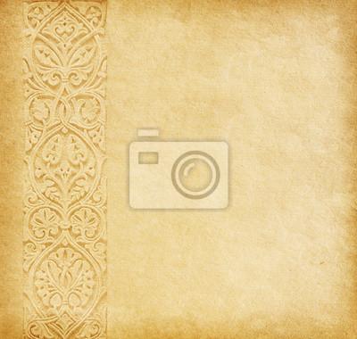 Beżowym tle. Stare papieru z orientalnym ornamentem.