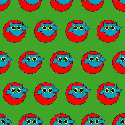 Obraz Bezproblemowa dekoracyjne tło wektor z sowami w stylu Pop Art