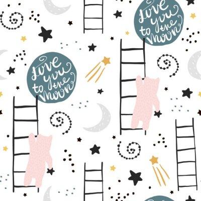 Obraz Bezproblemowa dziecinna wzór z niedźwiedziami, gwiazdami i księżycem. Kreatywnych dzieci tekstury do tkanin, pakowania, włókienniczych, tapety, odzieży. Ilustracji wektorowych