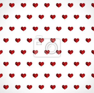 Bezproblemowa geometryczny wielokątne czerwone serca w tle