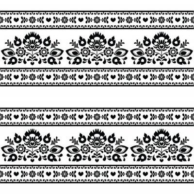Obraz Bezproblemowa Polska czarny wzór ludowy z kwiatami na białym tle