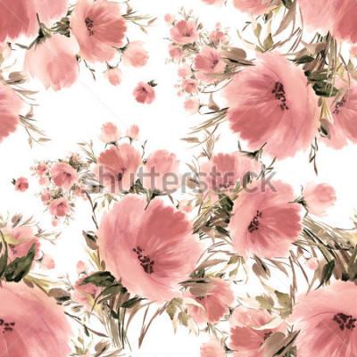 Obraz Bezszwowe bukiety kwiatowe akwarela-4. Piękny wzór do dekoracji i projektowania. Modny nadruk. Znakomity wzór do projektowania szkiców akwarelowych kwiatów.