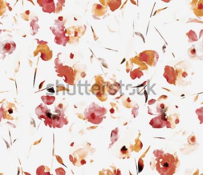 Obraz Bezszwowe niekończące się ręcznie malowanie akwarela streszczenie kwiaty Florals maku wzór