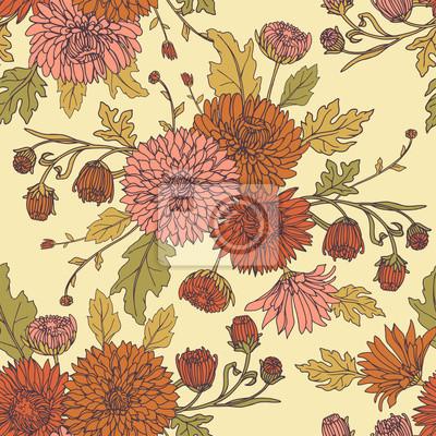 Bezszwowe tło z chryzantemami w stylu szkicu. Wzór piękne kwiaty.