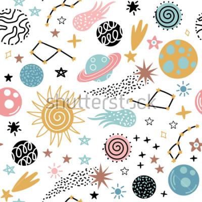 Obraz Bezszwowy galaktyka wzór z gwiazdozbiorami i planetami w doodle stylu. Ilustracja wektorowa dla dzieci.
