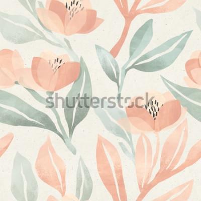 Obraz Bezszwowy kwiecisty wzór na papierowej teksturze. Tło botaniczne