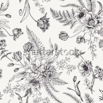 Obraz Bezszwowy kwiecisty wzór z bukietami wiosna kwiaty. Czarno-biały ilustracja wektorowa. Tło. Rytownictwo. Piwonia, paprocie, tulipany, zawilce, nasiona eukaliptusa.