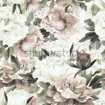 Obraz Bezszwowy kwiecisty wzór z różami na lekkim tle, akwarela.
