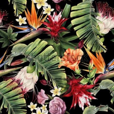 Obraz Bezszwowy kwiecisty wzór z tropikalnymi kwiatami, akwarela.