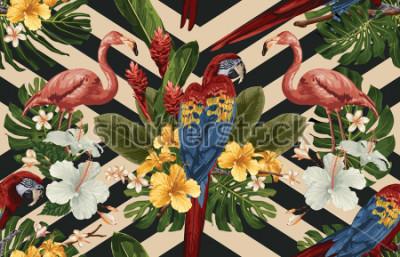 Obraz Bezszwowy tropikalny deseniowy tło z tropikalnymi kwiatami, czerwoną szkarłatną ara i flamingiem ,. Tropikalna ilustracja w stylu vintage hawajski.