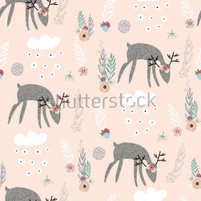 Obraz Bezszwowy wzór z deers, kwieciści elementy, gałąź. Twórczy tło lasu. Idealny do odzieży dziecięcej, tkanin, tkanin, dekoracji przedszkola, papier pakowy. Ilustracja wektorowa