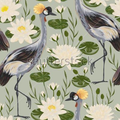 Obraz Bezszwowy wzór z dźwigowym ptakiem i wodną lelują. Motyw orientalny. Vintage ręcznie rysowane ilustracji wektorowych w stylu przypominającym akwarele