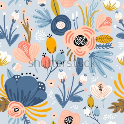 Obraz Bezszwowy wzór z kwiatami, palmowa gałąź, liście. Kreatywna tekstura kwiatowy. Świetny do tkanin, ilustracji wektorowych włókienniczych