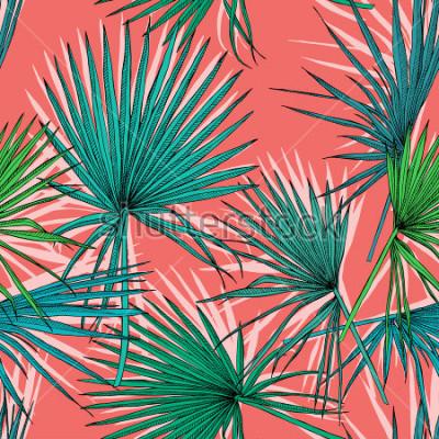 Obraz Bezszwowy wzór z wizerunkiem zielona fan palma opuszcza na koralowym tle. Ilustracji wektorowych.