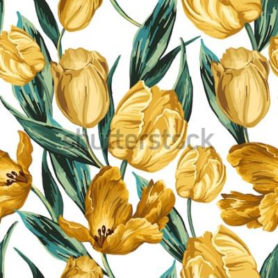 Obraz Bezszwowy wzór żółci tulipany na białym tle.