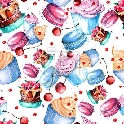 Obraz Bezszwowych rocznika wzór z akwarela. Vintage rysunek - ciasta, desery, makaron, jagody akwarela.