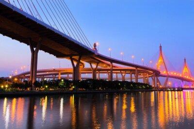 Obraz Bhumibol Most w zachodzie słońca, przemysłowych Ring Road Bridge