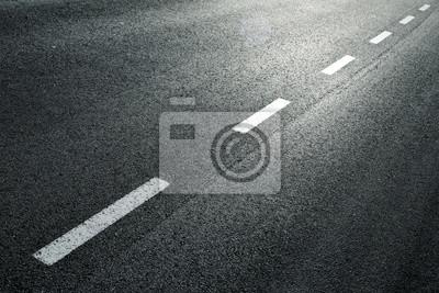 Obraz Biała przerywana linia miejska drogowego tła.