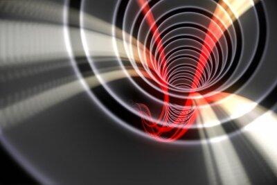 Obraz Biała spirala z czerwonym świetle