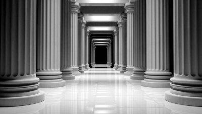 Obraz Białe marmurowe filary w rzędzie wewnątrz budynku