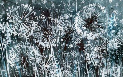 Obraz Białe mlecze na ciemnoniebieskim wzór, ilustracji akwarela, karty, abstrakcyjne tło