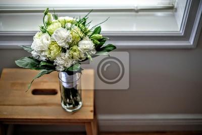Obraz Białe róże bukiet kwiatów w szklanym